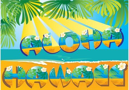 hawaiana: postal de Aloha Hawaii Vectores