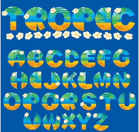 sun tan: Alfabeto - cartas tropicales