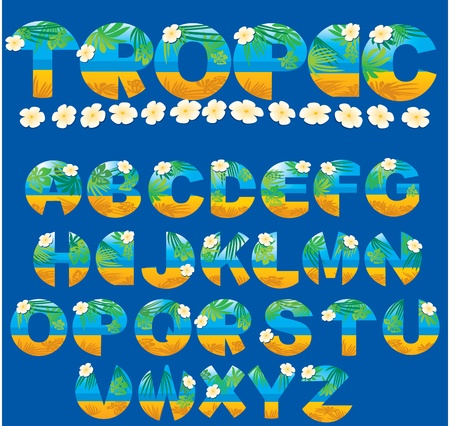 Alphabet - tropical letters Vector