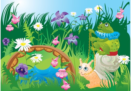 Frog riding snail - fairy tale illustration.  Vector