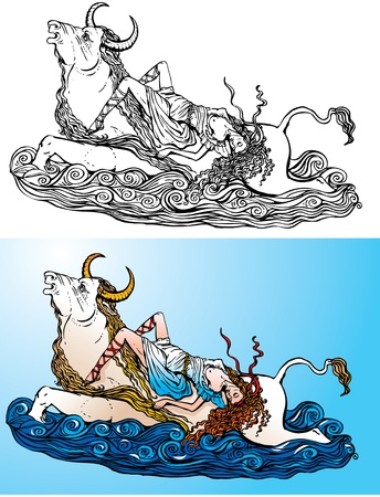 Greek myth: The Abduction of Europa by Zeus (black and white and color pictures) Vector