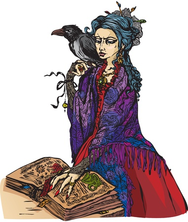 Woman witch with black raven reading ancient magic book -  illustration. Vector