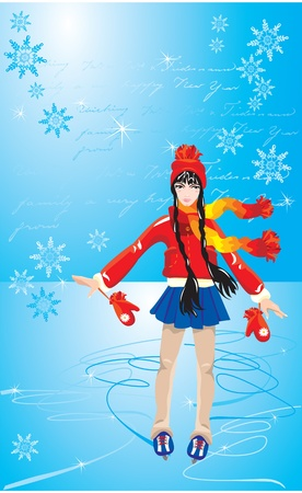 The cute Girl on skating rink. Figure on beautiful winter background with snowflakes with empty space for your text.