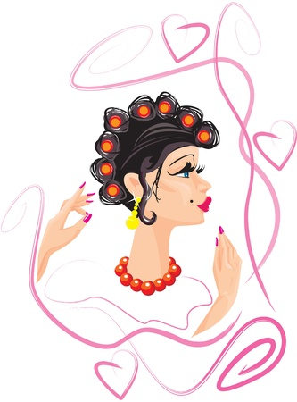 funny woman cartoon with hair rollers Vector