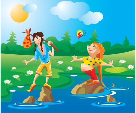 gnomos: 2 gnomos - contra viento y marea - cruzar el r�o