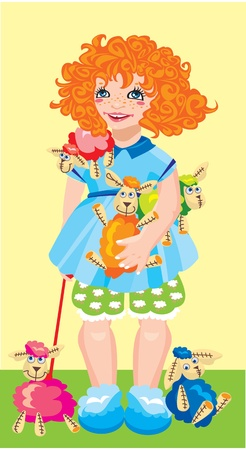 little girl with colored toy sheep Vector