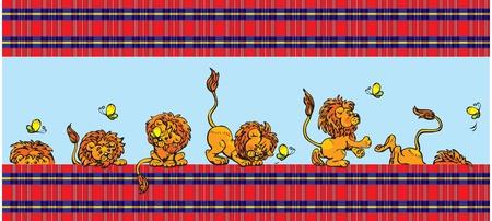 Modelo para los niños - gracioso jugar con leon mariposa - en el fondo comprueba Ilustración de vector