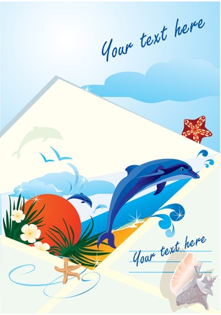 florida: summer holiday envelope with beach, dolphin, sunset, sea, palms and shells
