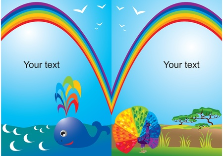 rainbow print: Set of portrait frames with rainbow, whale and peacock Illustration
