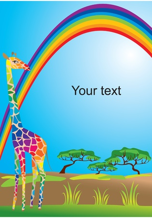 Portrait border with rainbow and giraffe Vector