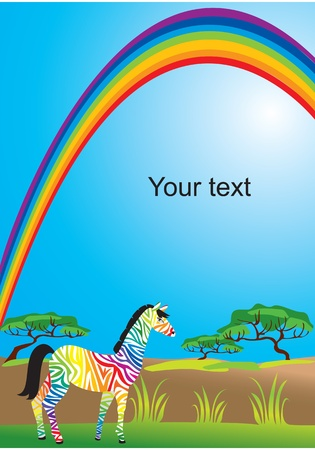 Portrait border with rainbow and zebra Vector
