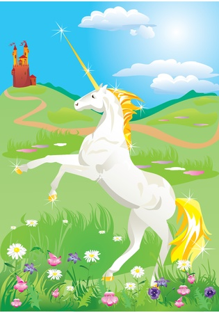 White unicorn rearing up on its hind legs on beautiful meadow with wild flowers Vector