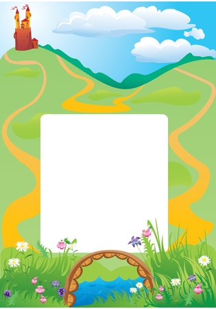 Portrait frame with fairy tale castle and beautiful country side landscape Vector