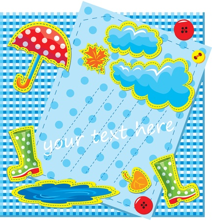 cartoon rain: hand made frame in autumn style with rain, clouds, puddle, rubber boots and umbrella - is made of polka dot and chequered fabric