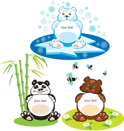 Set of oval frames - animals for kids - 3 bears - brown bear, panda, polar bear Vector