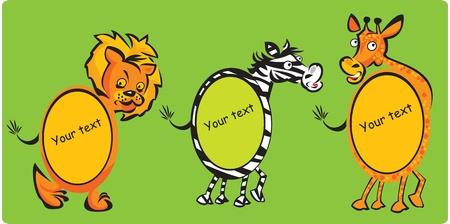 leon de dibujos animados: Conjunto de marcos ovalados - animales (león, cebra, jirafa) para los niños
