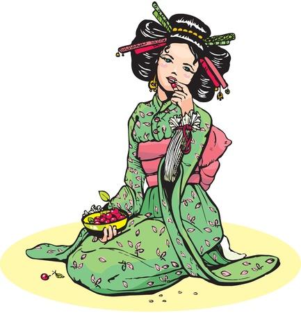 geisha kimono: Beautiful japanese woman eats cherries