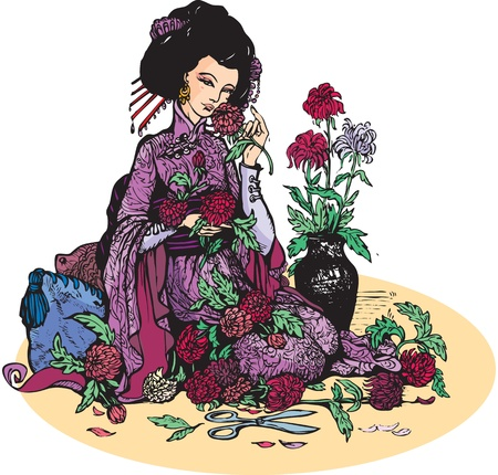 Hermosa mujer japonesa con las flores (las geishas y los crisantemos)