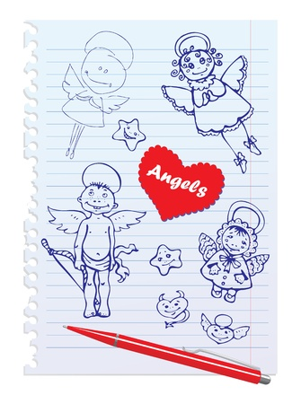Set of Hand-Drawn Sketchy Angels on Lined Notebook Paper Background Vector