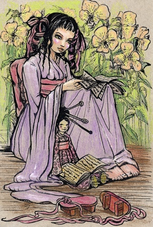 japanese garden: Little asian girl reading book to her doll (Illustration was made by pastel and ink)