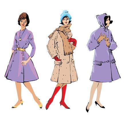 Set of elegant women - retro style fashion models  Vector