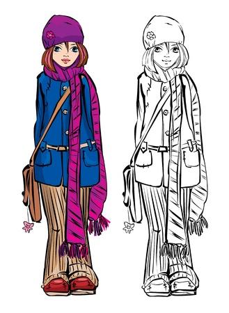 strippad: Winter cute girl dressing stripped skarf