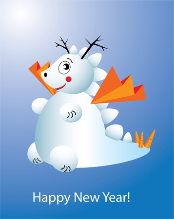 New Year postcard with symbol 2012 funny snow dragon. Vector