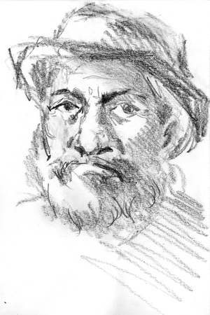 middle age man`s portrait with hat, hand drawn sketch by pencil Stock Photo - 11617069
