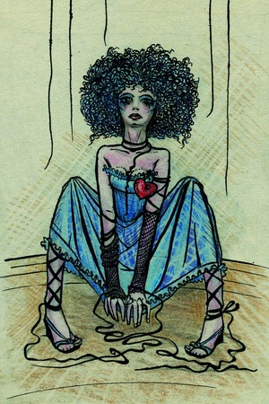 Puppet girl with teared threads (illustration is made by ink and pastel) illustration