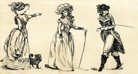 fancy man and women 19 century Stock Photo