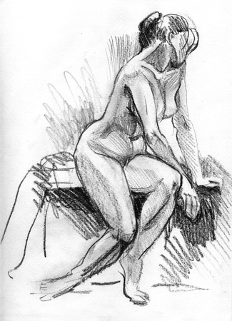 nude black woman: Figure of beautiful nude young woman - hand drawn sketch is made by black charcoal  Stock Photo