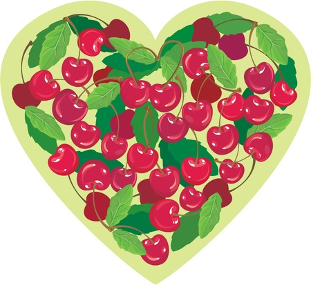 craving: Heart is made by sweet cherries - illustration for Valentine`s Day Illustration
