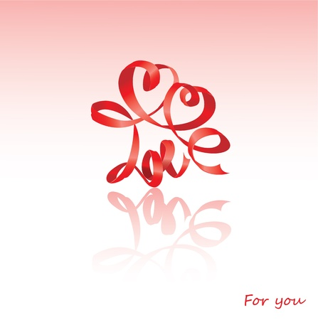 Valentine`s Day card with hearts and word LOVE is made by red ribbon  Stock Vector - 11617085
