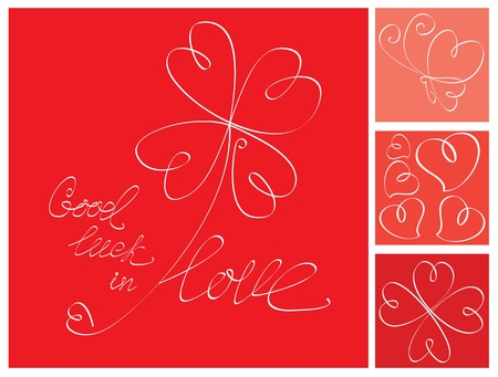 Valentine`s Day postcard with lucky heart Clover Vector