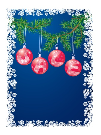 Sale with christmas decoration balls on xmas tree Vector
