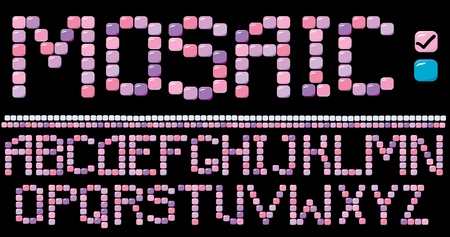 architectural styles: Mosaic alphabet - pink color