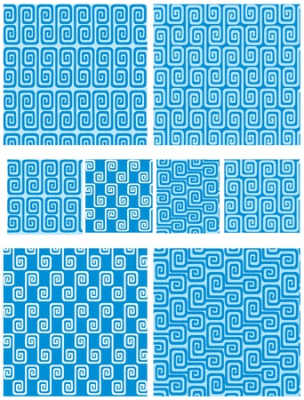 meander: Set of seamless greek ornaments. Meander and wave in blue.