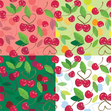 Red cherries with green leaves on green, pink, white backgrounds. A seamless background Stock Vector - 11617093