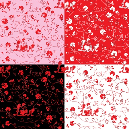 Seamless pattern for Valentine`s Day with word LOVE, flowers and hearts on black, red, white or pink background  Vector