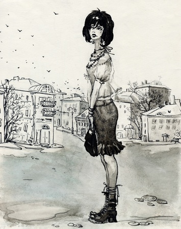 gloomy: picture of a lonely girl in a city street (illustration is made by ink) Stock Photo