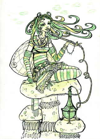 Girl-butterfly sitting on mushroom top and smoking hookah (hand drawn illustration is made by ink and color pencils) illustration