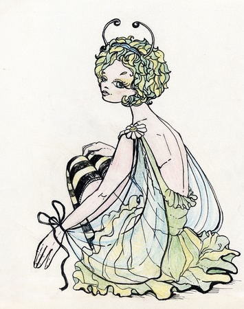 Beautiful girl in sexy Butterfly costume (illustration is made by ink and colour pencils) Stock Illustration - 11617098