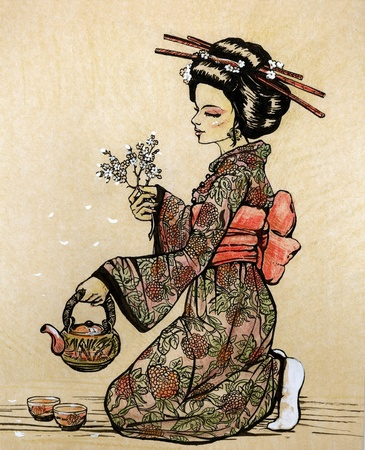 japanese kimono: Tea ceremony in Japanese style: geisha with teapot and cherry blossom branch in her hands - hand drawn illustration
