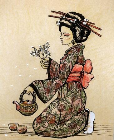 Japanese kimono girl: Trà đạo theo phong cách Nhật Bản: geisha với chi nhánh ấm trà và hoa anh đào trong tay - vẽ tay minh họa