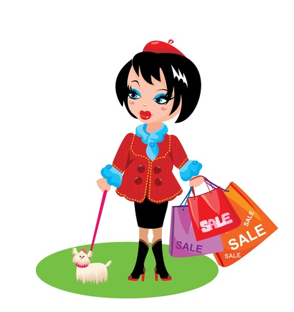 naughty: Funny Girl with dog go shopping in sale time Illustration