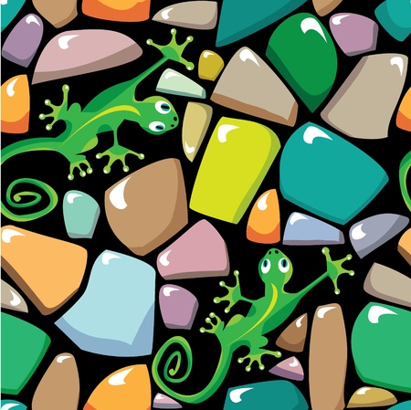 mosaic floor: Seamless texture of colorful stonewall with lizards Illustration