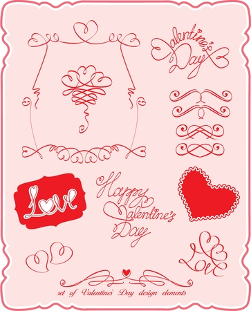Set of Valentine`s Day symbols and design elements Stock Vector - 11664580