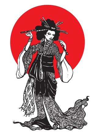adorn: Hermosa mujer japonesa con horquillas en el fondo blanco con un c�rculo rojo