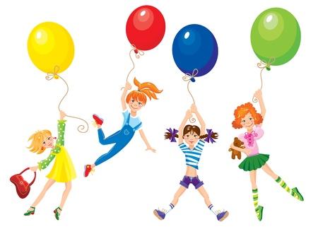 balloon woman: cute girls flying away on balloons