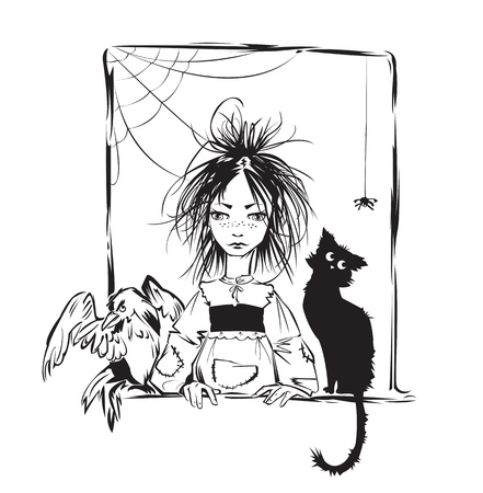 Baby witch with black cat, raven and spider looking out the window - black and white illustration Vector